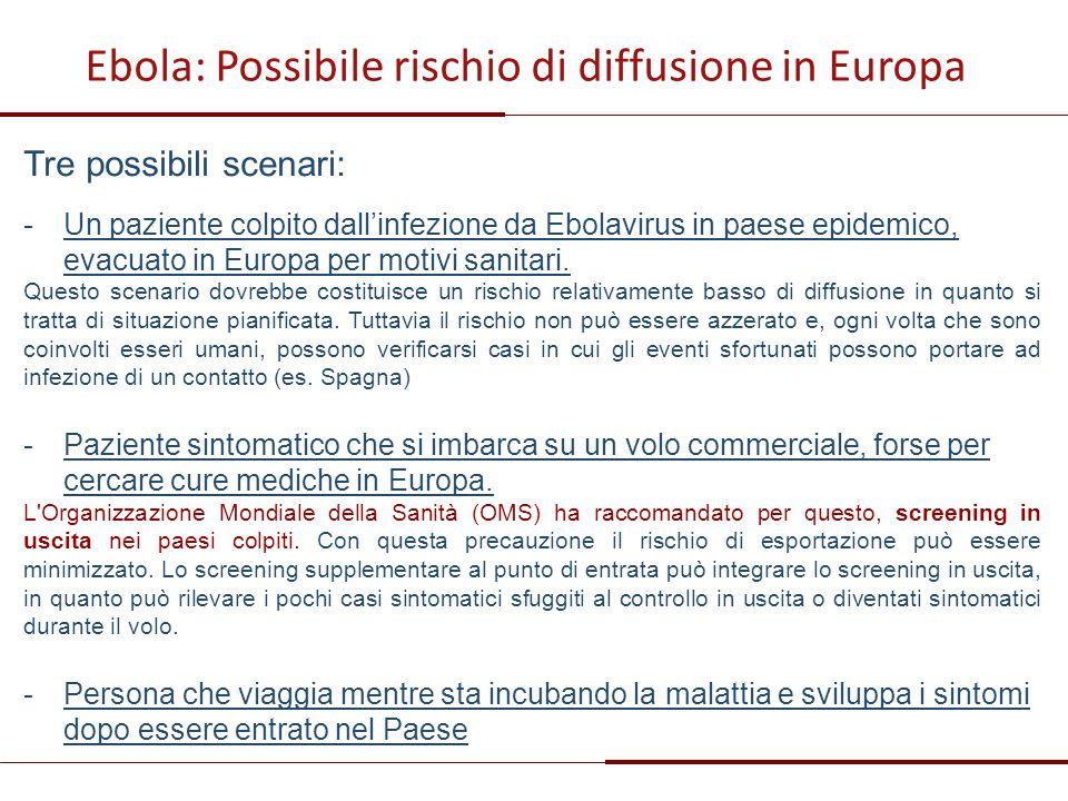 Tre possibili scenari: -Un paziente colpito dall'infezione da Ebolavirus in paese epidemico, evacuato in Europa per motivi sanitari. Questo scenario d