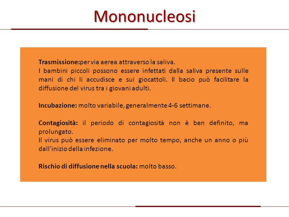 Mononucleosi Trasmissione:per via aerea attraverso la saliva. I bambini piccoli possono essere infettati dalla saliva presente sulle mani di chi li ac