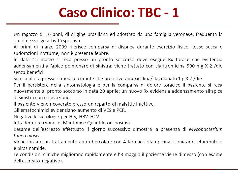 Caso Clinico: TBC - 1 Un ragazzo di 16 anni, di origine brasiliana ed adottato da una famiglia veronese, frequenta la scuola e svolge attività sportiv