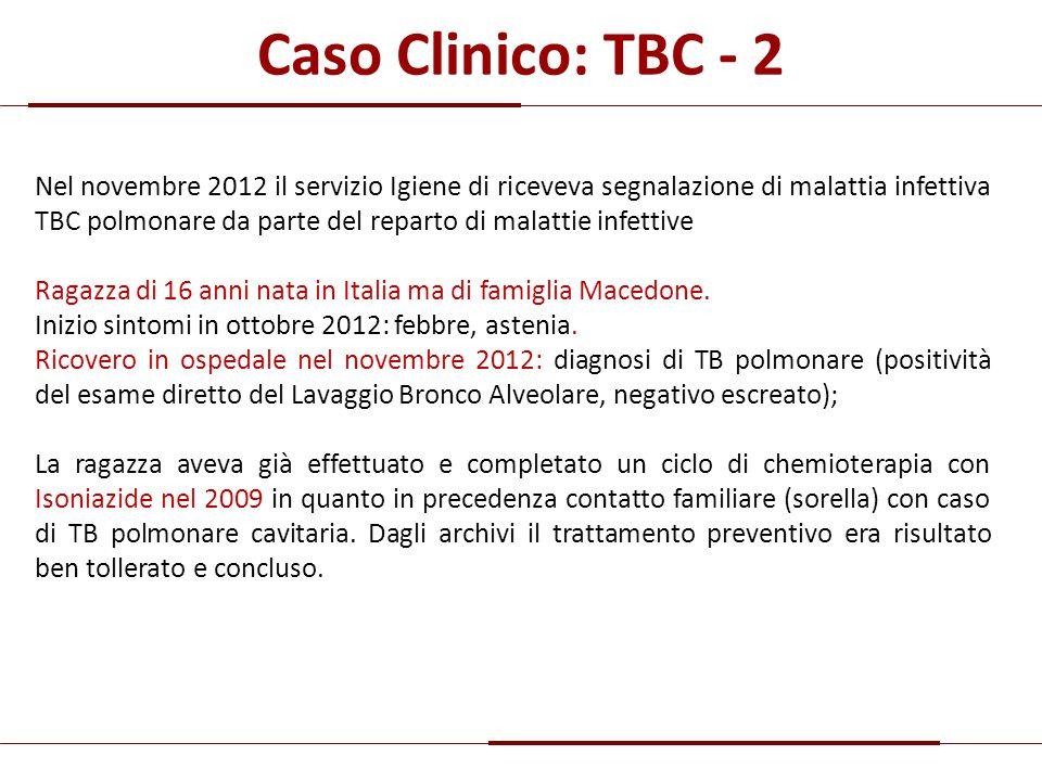 Caso Clinico: TBC - 2 Nel novembre 2012 il servizio Igiene di riceveva segnalazione di malattia infettiva TBC polmonare da parte del reparto di malatt