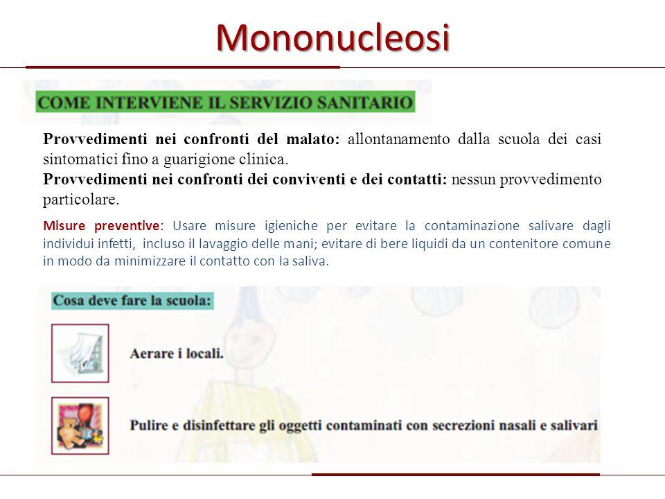 Mononucleosi Provvedimenti nei confronti del malato: allontanamento dalla scuola dei casi sintomatici fino a guarigione clinica. Provvedimenti nei con