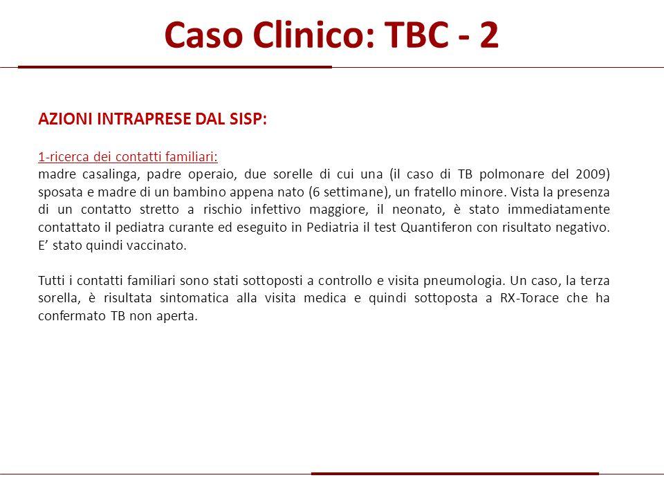 Caso Clinico: TBC - 2 AZIONI INTRAPRESE DAL SISP: 1-ricerca dei contatti familiari: madre casalinga, padre operaio, due sorelle di cui una (il caso di