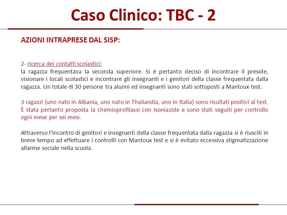 Caso Clinico: TBC - 2 AZIONI INTRAPRESE DAL SISP: 2- ricerca dei contatti scolastici: la ragazza frequentava la seconda superiore. Si è pertanto decis