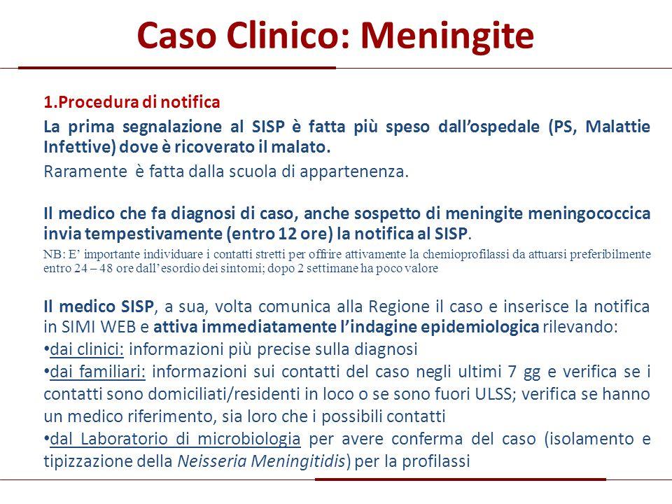 Caso Clinico: Meningite 1.Procedura di notifica La prima segnalazione al SISP è fatta più speso dall'ospedale (PS, Malattie Infettive) dove è ricovera