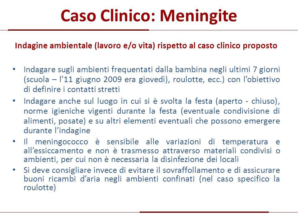 Caso Clinico: Meningite Indagine ambientale (lavoro e/o vita) rispetto al caso clinico proposto Indagare sugli ambienti frequentati dalla bambina negl