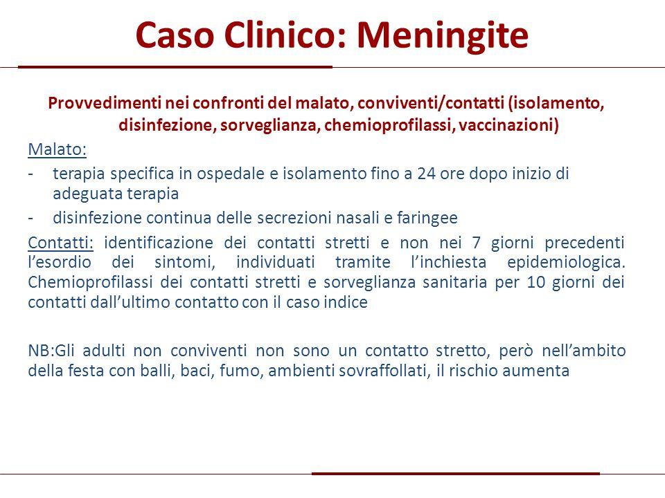 Caso Clinico: Meningite Provvedimenti nei confronti del malato, conviventi/contatti (isolamento, disinfezione, sorveglianza, chemioprofilassi, vaccina