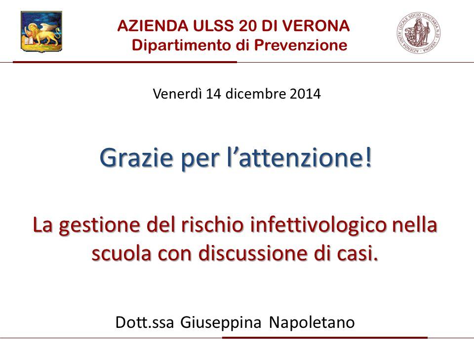 La gestione del rischio infettivologico nella scuola con discussione di casi. Dott.ssa Giuseppina Napoletano AZIENDA ULSS 20 DI VERONA Dipartimento di
