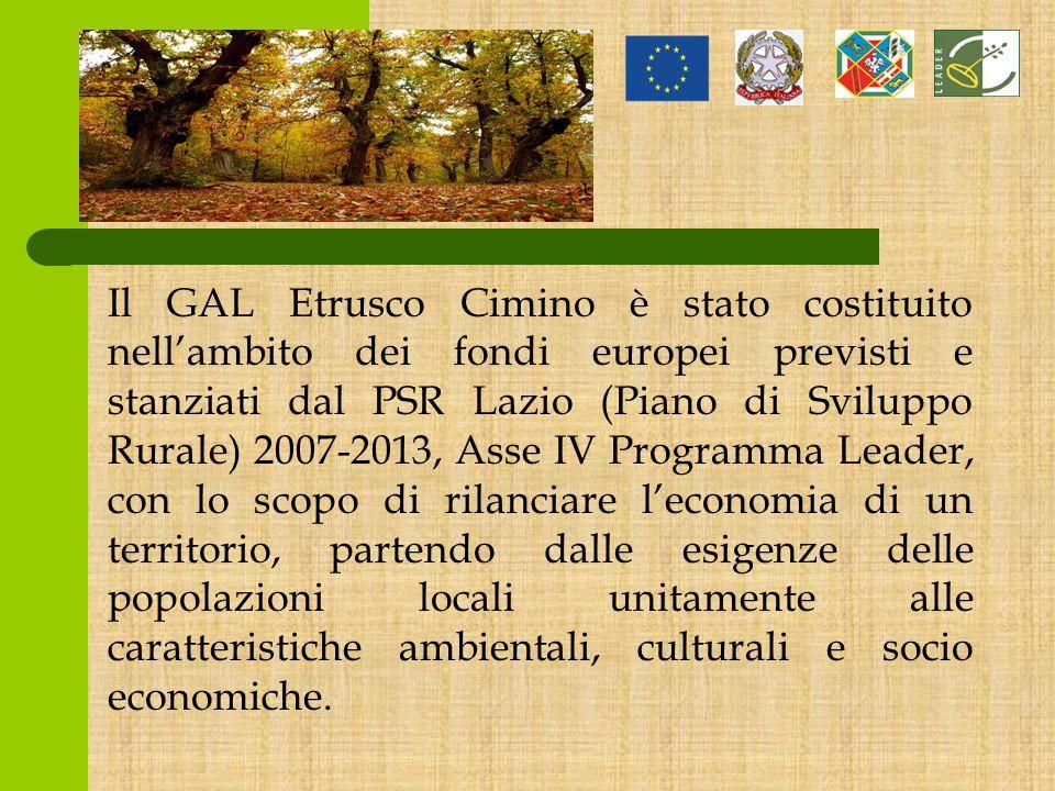 Il GAL Etrusco Cimino è stato costituito nell'ambito dei fondi europei previsti e stanziati dal PSR Lazio (Piano di Sviluppo Rurale) 2007-2013, Asse IV Programma Leader, con lo scopo di rilanciare l'economia di un territorio, partendo dalle esigenze delle popolazioni locali unitamente alle caratteristiche ambientali, culturali e socio economiche.