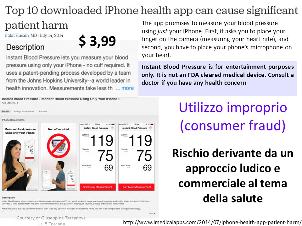 Rischio derivante da un approccio ludico e commerciale al tema della salute Utilizzo improprio (consumer fraud) Instant Blood Pressure is for entertainment purposes only.