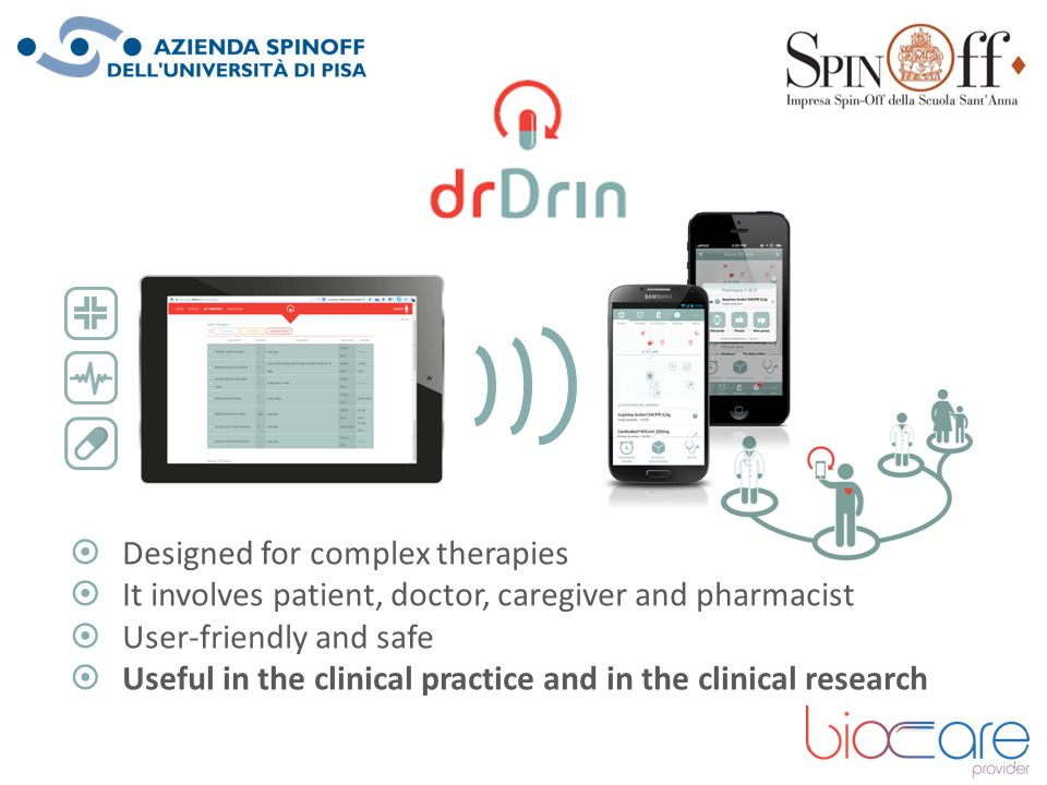  Designed for complex therapies  It involves patient, doctor, caregiver and pharmacist  User-friendly and safe  Useful in the clinical practice an