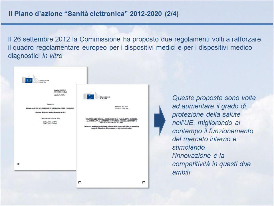 Il Piano d'azione Sanità elettronica 2012-2020 (3/4) Vista la situazione complessa creata dalle applicazioni sanitarie mobili e in particolare dalle applicazioni sulla salute e il benessere è necessario chiarire ulteriormente il quadro giuridico che si applica a queste realtà specifiche.