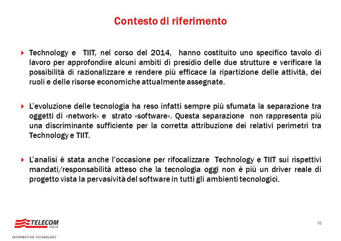 Contesto di riferimento 10  Technology e TIIT, nel corso del 2014, hanno costituito uno specifico tavolo di lavoro per approfondire alcuni ambiti di