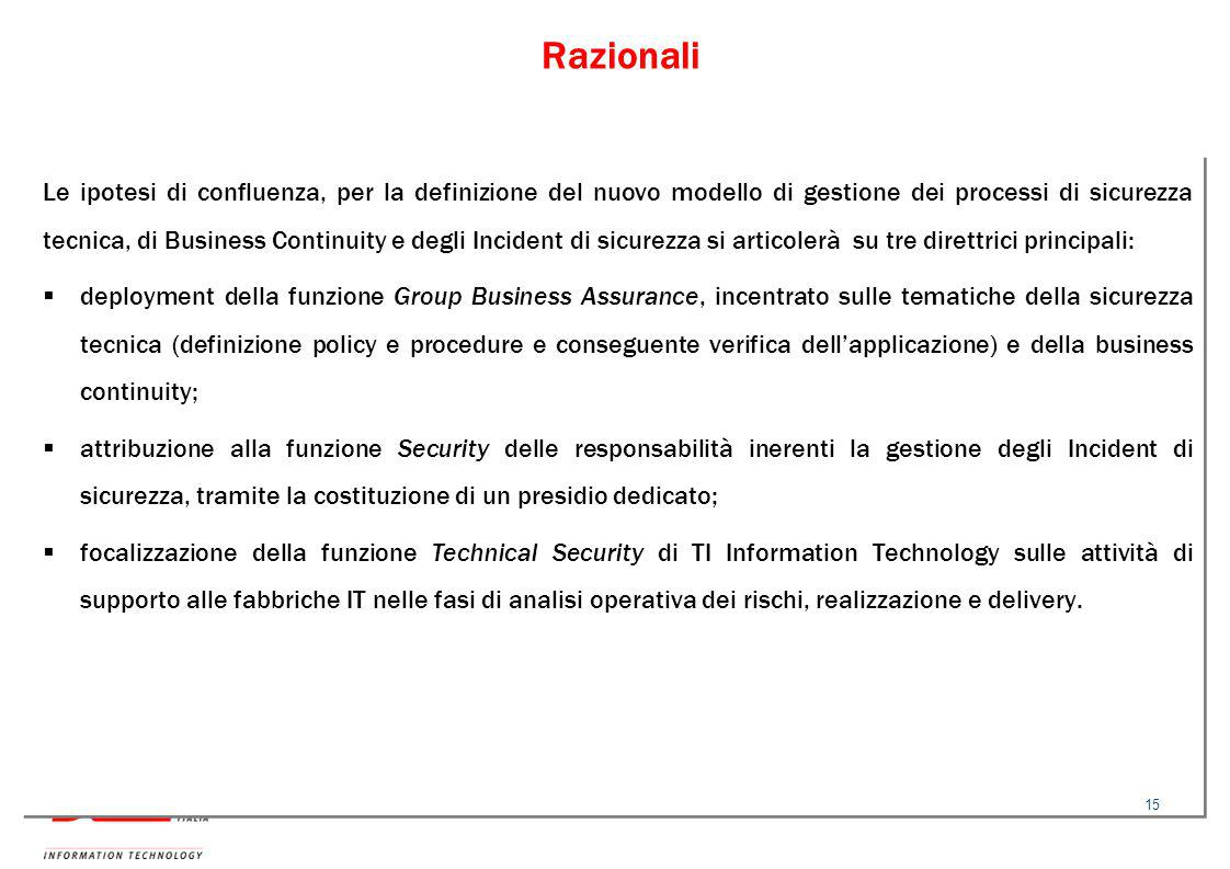 Razionali Le ipotesi di confluenza, per la definizione del nuovo modello di gestione dei processi di sicurezza tecnica, di Business Continuity e degli