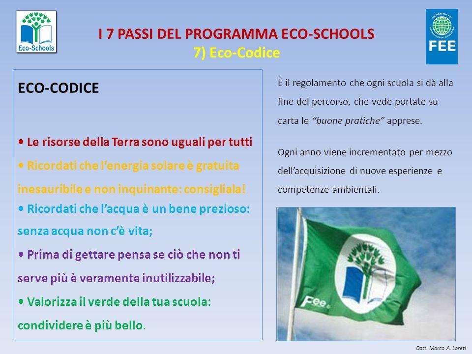 I 7 PASSI DEL PROGRAMMA ECO-SCHOOLS 7) Eco-Codice ECO-CODICE Le risorse della Terra sono uguali per tutti Ricordati che l'energia solare è gratuita inesauribile e non inquinante: consigliala.