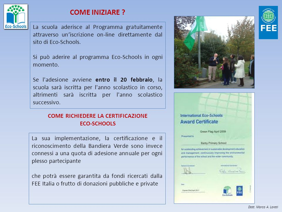 IL METODO 7 PASSI DEL PROGRAMMA ECO-SCHOOLS 1)L'Eco-Comitato 2)L'indagine Ambientale 3)Il Piano d'azione 4)Il Monitoraggio e la Valutazione delle Prestazioni Ambientali 5)L'Informazione la Comunicazione ed il Coinvolgimento 6)L'integrazione Curricolare 7)L'Eco-Codice 1 2 3 4 5 6 7 Dott.