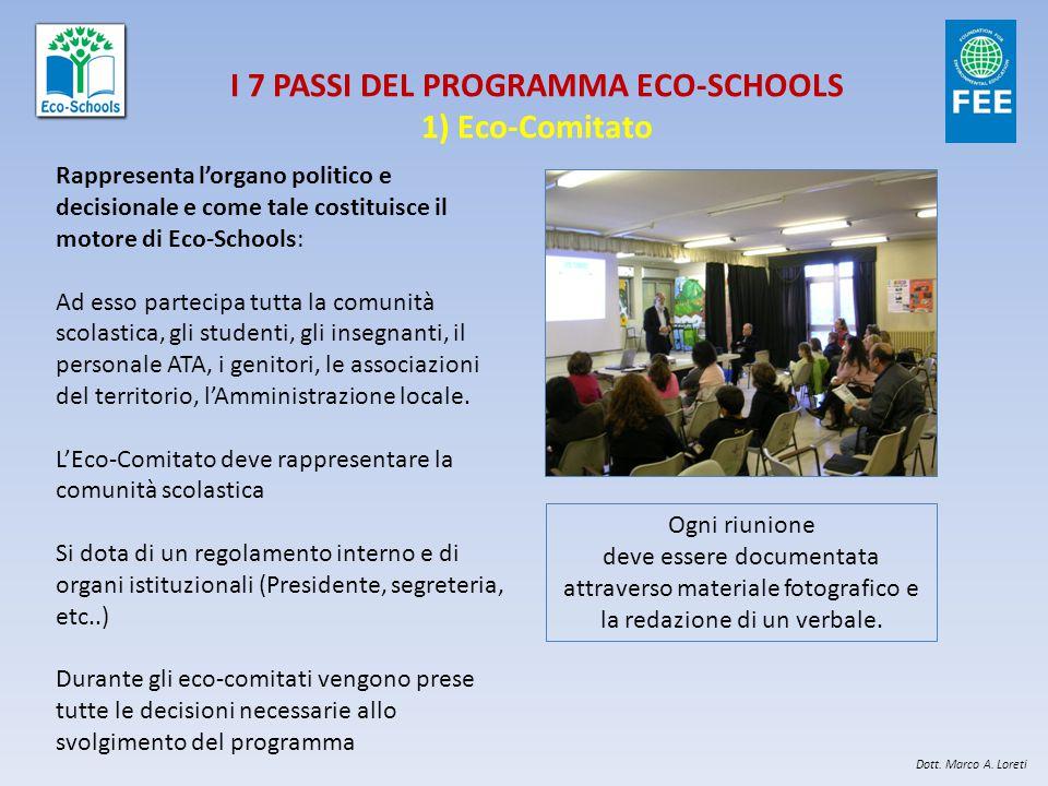 I 7 PASSI DEL PROGRAMMA ECO-SCHOOLS 1) Eco-Comitato Rappresenta l'organo politico e decisionale e come tale costituisce il motore di Eco-Schools: Ad e
