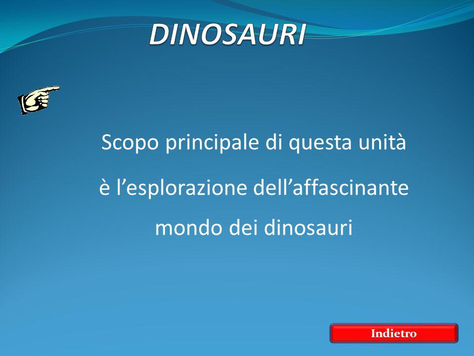 Scopo principale di questa unità è l'esplorazione dell'affascinante mondo dei dinosauri Indietro