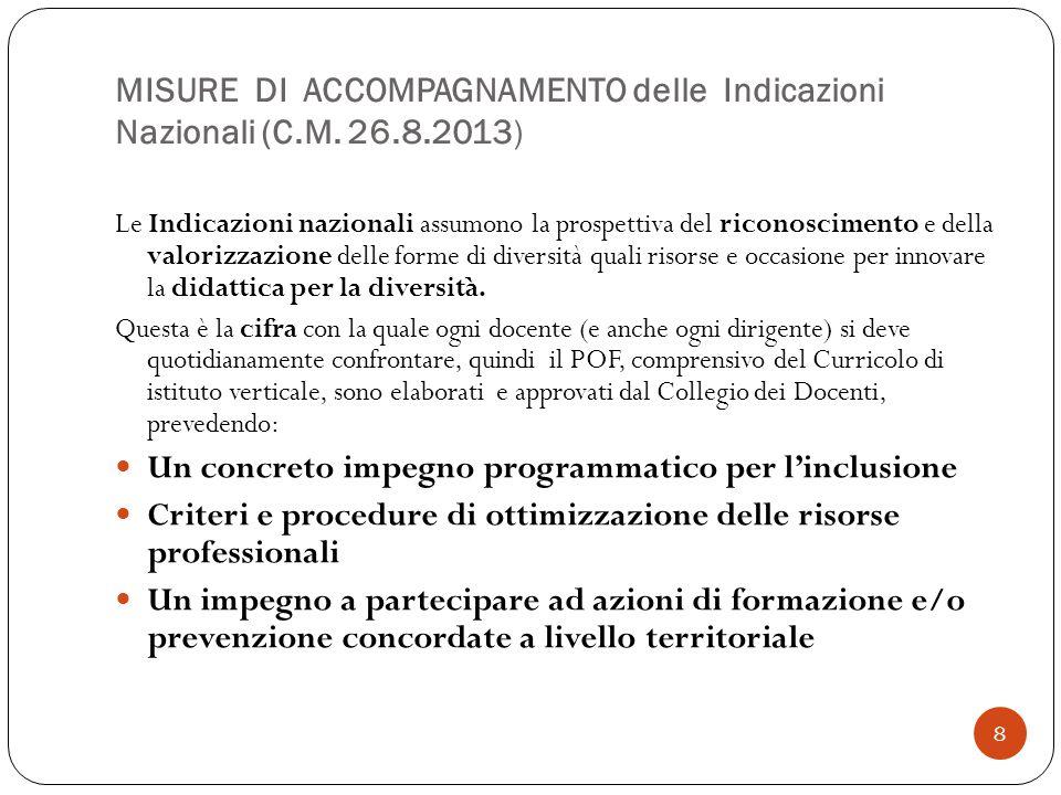 8 MISURE DI ACCOMPAGNAMENTO delle Indicazioni Nazionali (C.M. 26.8.2013) Le Indicazioni nazionali assumono la prospettiva del riconoscimento e della v