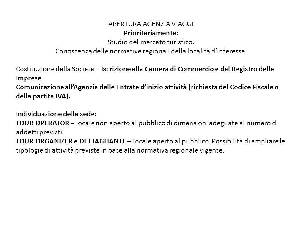 Scelta del Nome E' indicato nella richiesta di autorizzazione comunale e non deve essere uguale a quello di altre agenzie operanti nel territorio italiano.