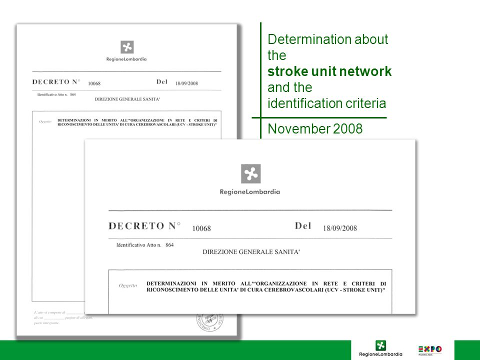 Determination about the stroke unit network and the identification criteria November 2008