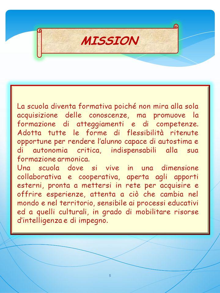 MISSION La scuola diventa formativa poiché non mira alla sola acquisizione delle conoscenze, ma promuove la formazione di atteggiamenti e di competenz