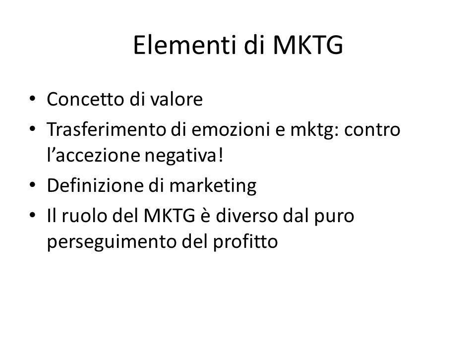 Elementi di MKTG Concetto di valore Trasferimento di emozioni e mktg: contro l'accezione negativa.