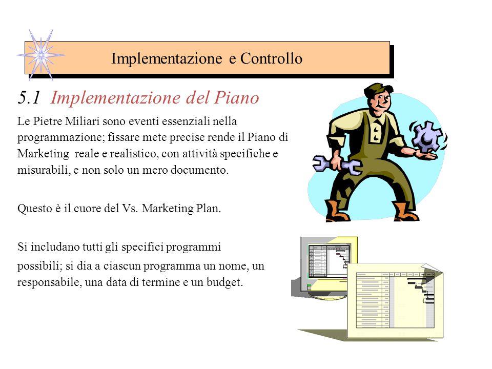 Implementazione e Controllo 5 Implementazione e Controllo In questo step possono essere sintetizzate le argomentazioni sull'implementazione del piano,