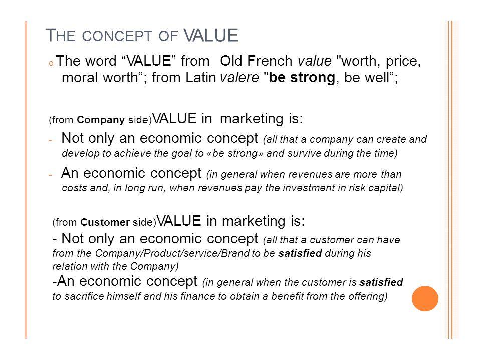 Elementi di MKTG Concetto di valore Trasferimento di emozioni e mktg: contro l'accezione negativa! Definizione di marketing Il ruolo del MKTG è divers