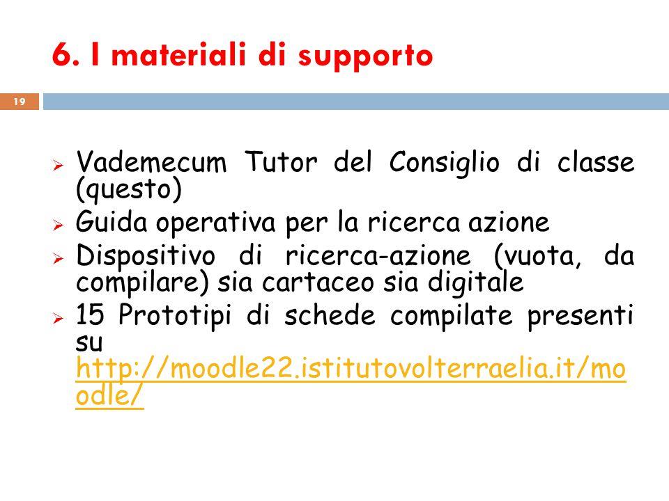 6. I materiali di supporto 19  Vademecum Tutor del Consiglio di classe (questo)  Guida operativa per la ricerca azione  Dispositivo di ricerca-azio