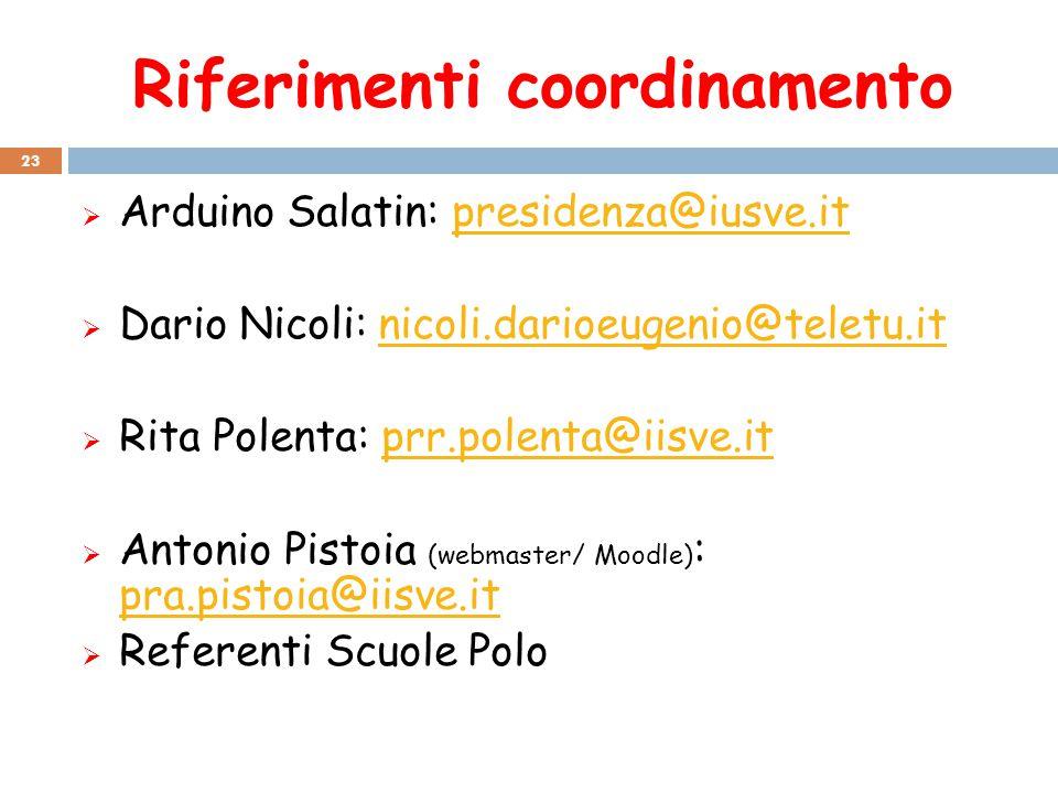 Riferimenti coordinamento 23  Arduino Salatin: presidenza@iusve.itpresidenza@iusve.it  Dario Nicoli: nicoli.darioeugenio@teletu.itnicoli.darioeugeni