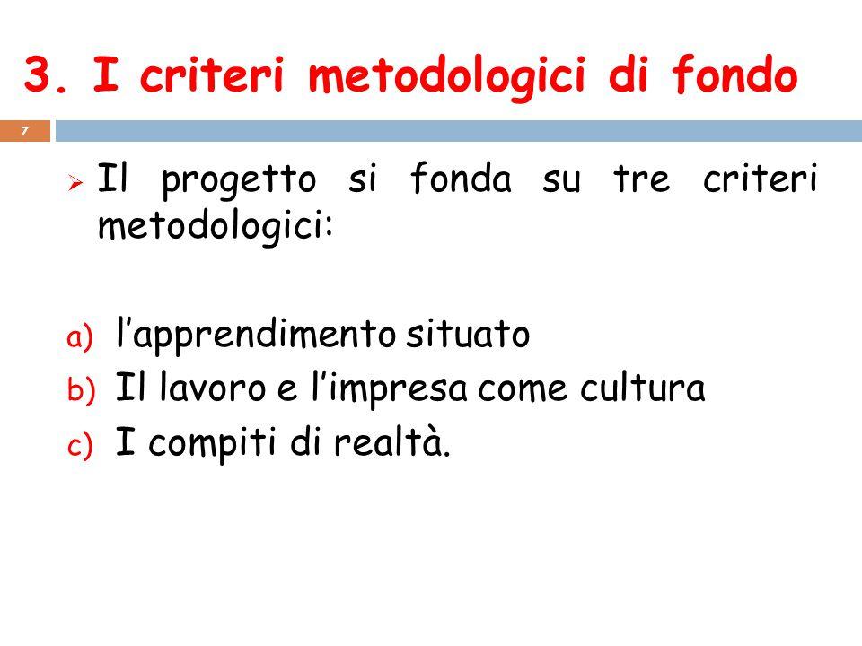 3. I criteri metodologici di fondo 7  Il progetto si fonda su tre criteri metodologici: a) l'apprendimento situato b) Il lavoro e l'impresa come cult