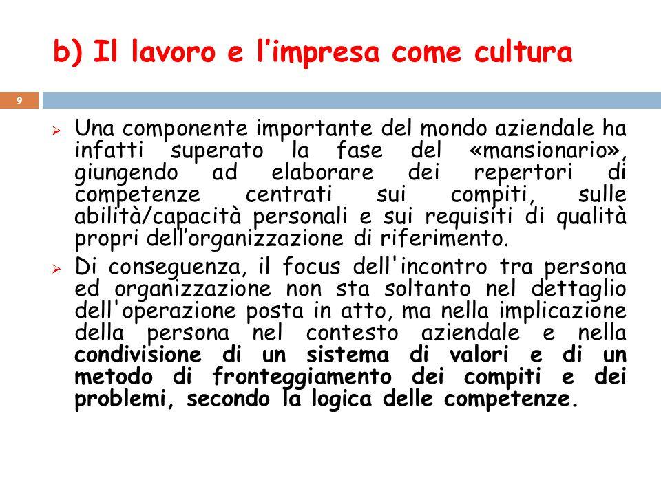 b) Il lavoro e l'impresa come cultura  Una componente importante del mondo aziendale ha infatti superato la fase del «mansionario», giungendo ad elab