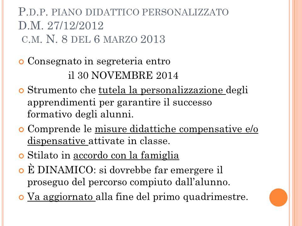 P. D. P. PIANO DIDATTICO PERSONALIZZATO D.M. 27/12/2012 C. M. N. 8 DEL 6 MARZO 2013 Consegnato in segreteria entro il 30 NOVEMBRE 2014 Strumento che t