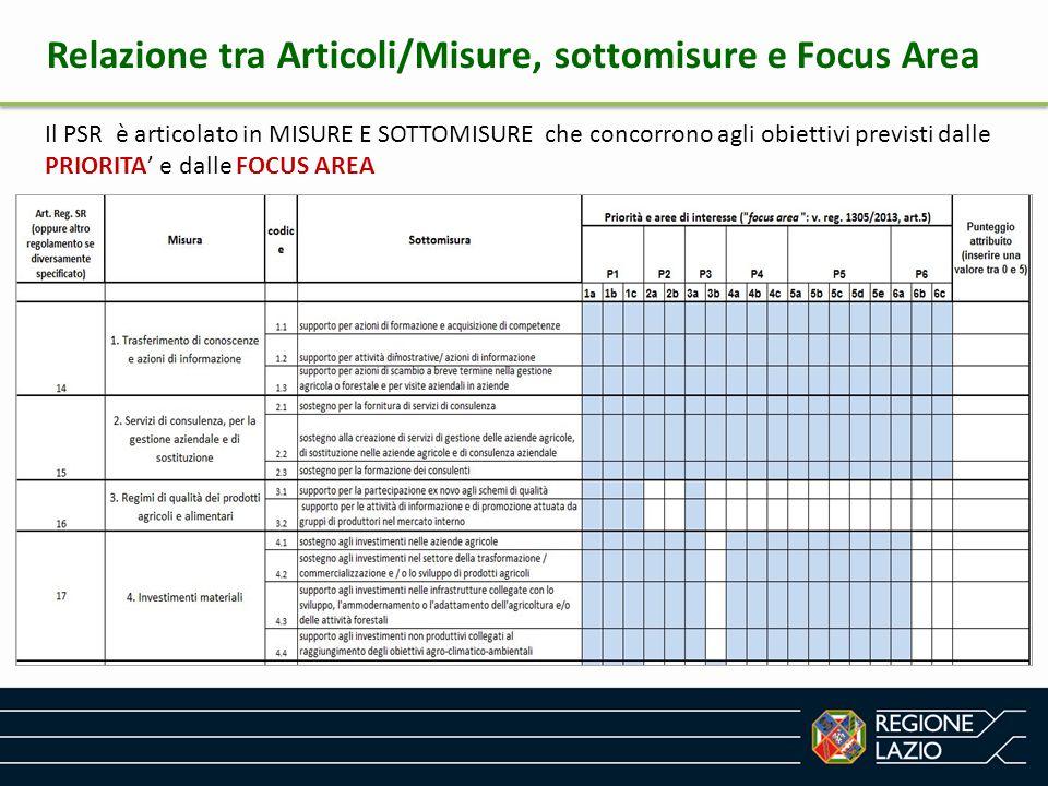 Relazione tra Articoli/Misure, sottomisure e Focus Area Il PSR è articolato in MISURE E SOTTOMISURE che concorrono agli obiettivi previsti dalle PRIOR
