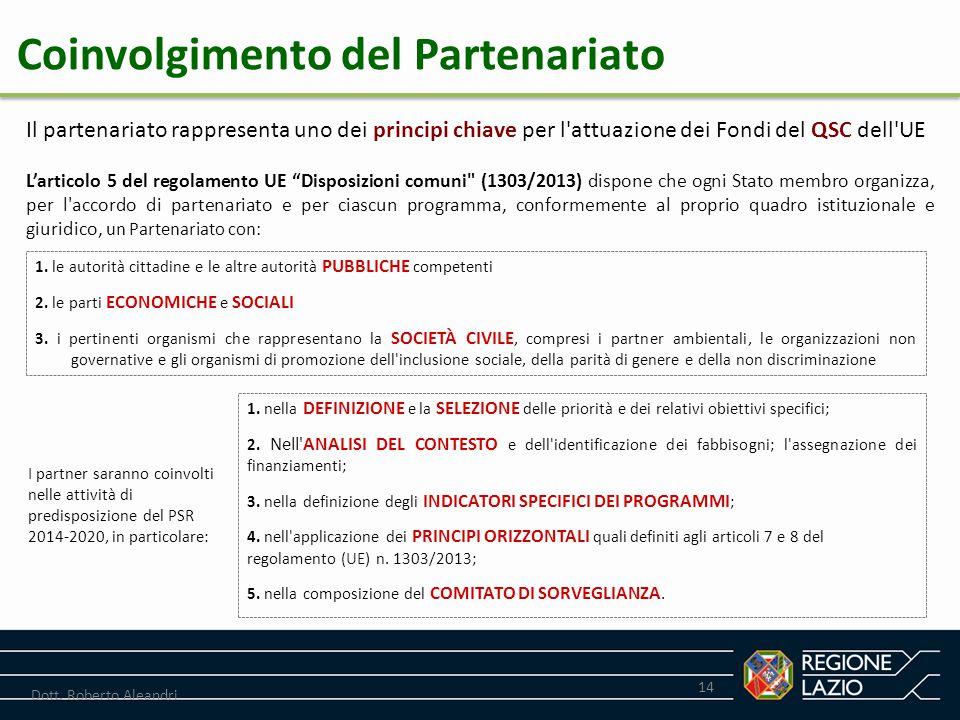 """14 Dott. Roberto Aleandri L'articolo 5 del regolamento UE """"Disposizioni comuni"""