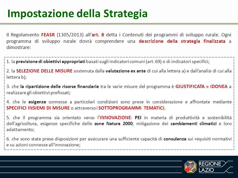 Impostazione della Strategia Il Regolamento FEASR (1305/2013) all'art. 8 detta i Contenuti dei programmi di sviluppo rurale. Ogni programma di svilupp