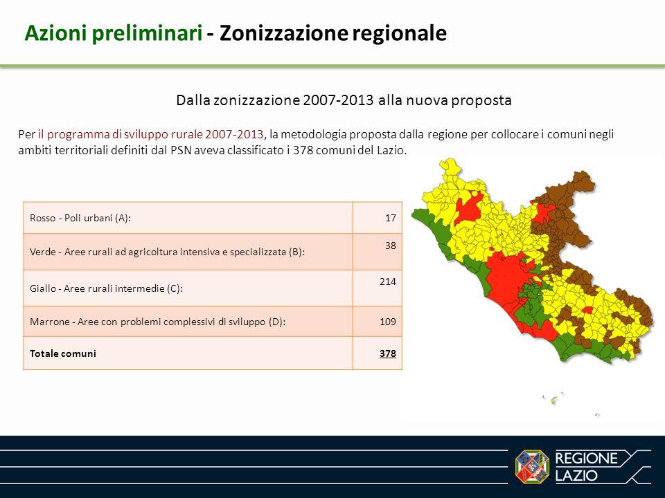 Dalla zonizzazione 2007-2013 alla nuova proposta Per il programma di sviluppo rurale 2007-2013, la metodologia proposta dalla regione per collocare i