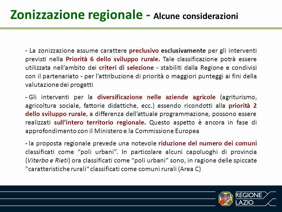 Zonizzazione regionale - Alcune considerazioni - La zonizzazione assume carattere preclusivo esclusivamente per gli interventi previsti nella Priorità