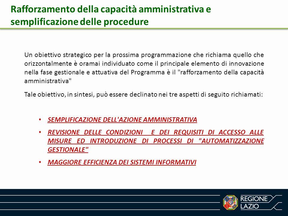 Rafforzamento della capacità amministrativa e semplificazione delle procedure Un obiettivo strategico per la prossima programmazione che richiama quel
