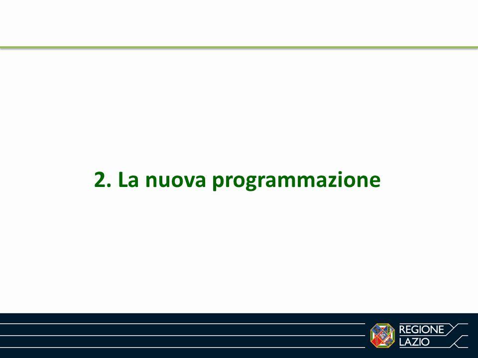 Come nasce la nuova programmazione Il Quadro strategico Comune (QSC) -> Strategia Europa 2020 Piano decennale per la crescita sviluppata dall Unione europea che vuole colmare le lacune del nostro modello di crescita e creare le condizioni per un diverso tipo di sviluppo economico, più intelligente, sostenibile e solidale.