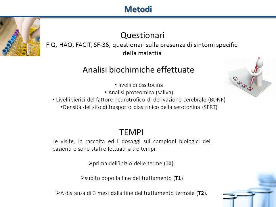 livelli di ossitocina Analisi proteomica (saliva) Livelli sierici del fattore neurotrofico di derivazione cerebrale (BDNF) Densità del sito di traspor