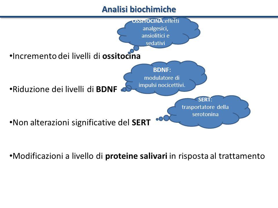 Analisi biochimiche Incremento dei livelli di ossitocina Riduzione dei livelli di BDNF Non alterazioni significative del SERT Modificazioni a livello