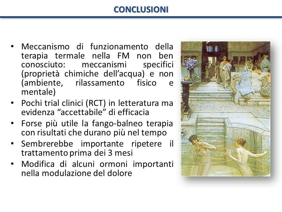 CONCLUSIONI Meccanismo di funzionamento della terapia termale nella FM non ben conosciuto: meccanismi specifici (proprietà chimiche dell'acqua) e non