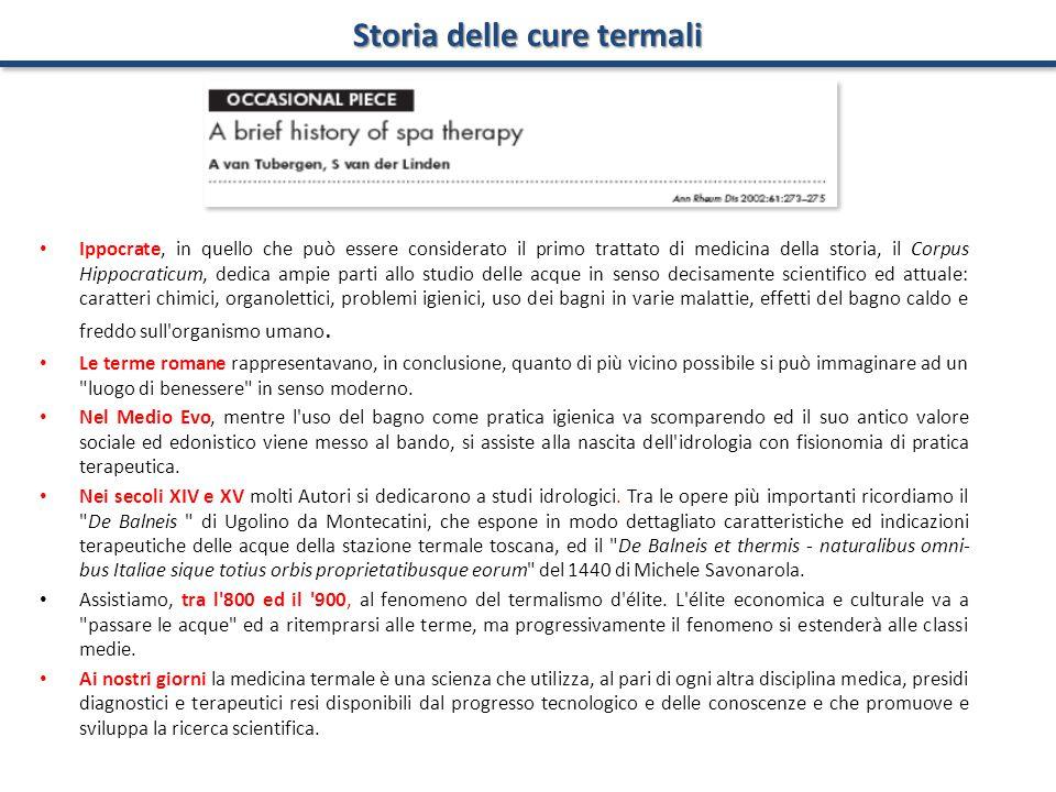 Storia delle cure termali Ippocrate, in quello che può essere considerato il primo trattato di medicina della storia, il Corpus Hippocraticum, dedica