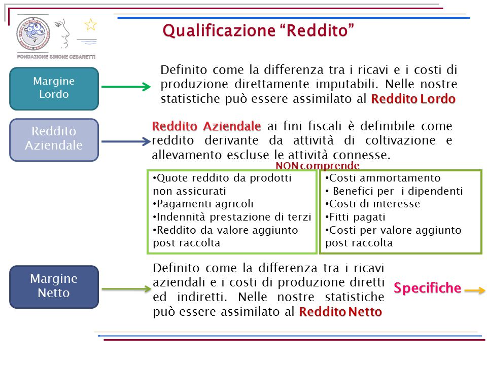 """Qualificazione """"Reddito"""" Margine Lordo Reddito Lordo Definito come la differenza tra i ricavi e i costi di produzione direttamente imputabili. Nelle n"""