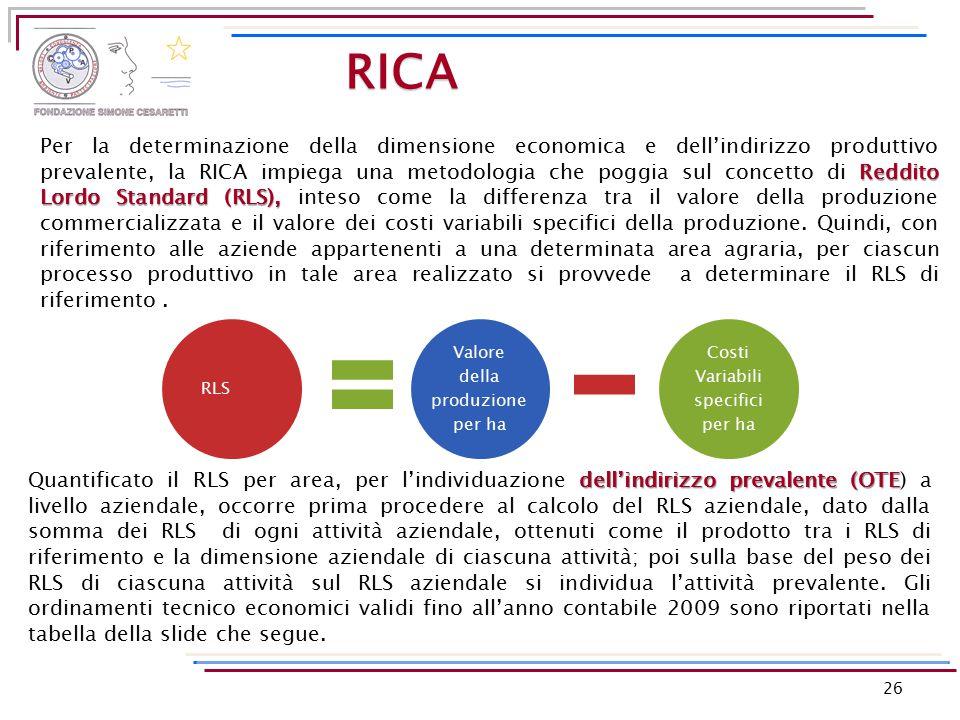 26 Reddito Lordo Standard (RLS), Per la determinazione della dimensione economica e dell'indirizzo produttivo prevalente, la RICA impiega una metodolo