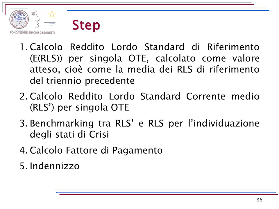 Step 36 1.Calcolo Reddito Lordo Standard di Riferimento (E(RLS)) per singola OTE, calcolato come valore atteso, cioè come la media dei RLS di riferime
