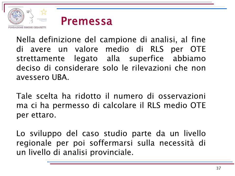 Premessa 37 Nella definizione del campione di analisi, al fine di avere un valore medio di RLS per OTE strettamente legato alla superfice abbiamo deci