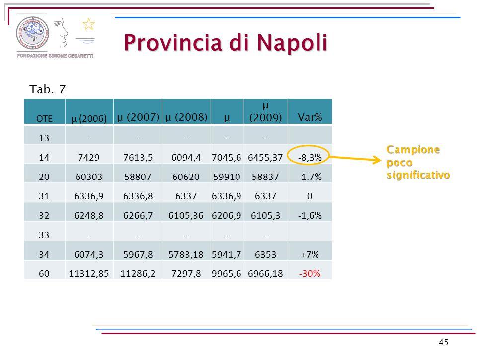 Provincia di Napoli OTEμ (2006) μ (2007)μ (2008)μ μ (2009)Var% 13----- 1474297613,56094,47045,66455,37-8,3% 206030358807606205991058837-1.7% 316336,96