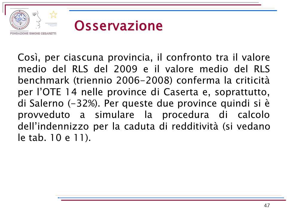 Osservazione Così, per ciascuna provincia, il confronto tra il valore medio del RLS del 2009 e il valore medio del RLS benchmark (triennio 2006-2008)